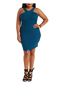 Textured Racer Front Bodycon Dress