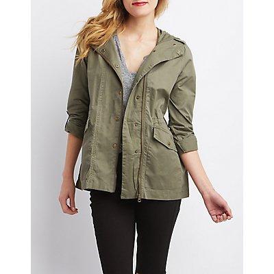 Asymmetrical Zip-Up Anorak Jacket