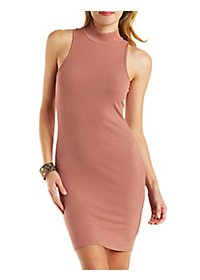 Ribbed Turtleneck Sleeveless Dress