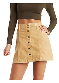 Cello Corduroy Button-Up Skirt