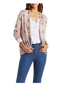 Dropped Shoulder Border Print Cocoon Cardigan