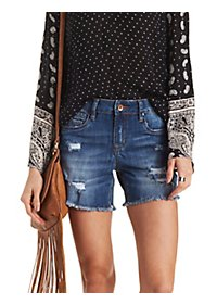 Dollhouse Destroyed Cut-Off Denim Shorts