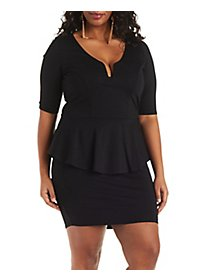 Plus Size Ponte Knit Peplum Dress