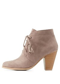 Qupid Tassel Lace-Up Booties