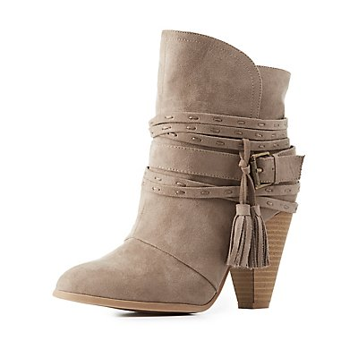 Qupid Wrapped Tassel Booties