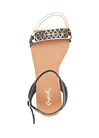 Qupid Metallic Two Piece Sandals