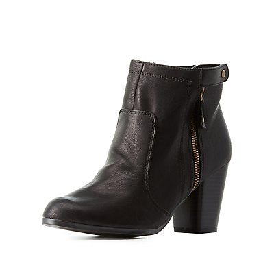 Qupid Zip-Up Chunky Heel Booties