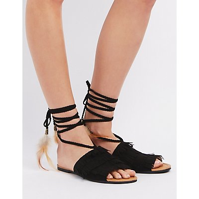 Qupid Fringe & Feather Lace-Up Sandals