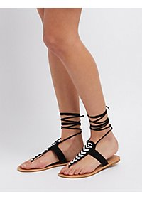 Beaded Lace-Up Thong Sandals