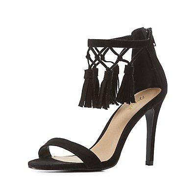 Qupid Two-Piece Tassel Sandals