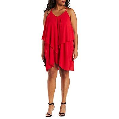 Plus Size Ruffle Cascade Sleeveless Dress
