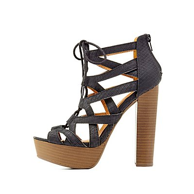 Qupid Lace-Up Textured Platform Sandals