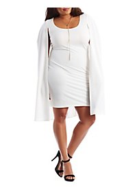 Plus Size Bodycon Cape Dress