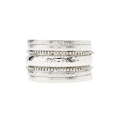Textured & Rhinestone Bangle Bracelets - 7 Pack
