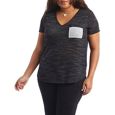 Plus Size Zip Pocket Tee