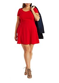 Plus Size Textured Knit Skater Dress
