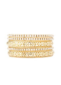 Rhinestone & Filigree Bangle Bracelets - 5 Pack