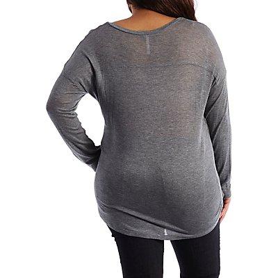 Plus Size Dropped Shoulder V-Neck Top with Pocket