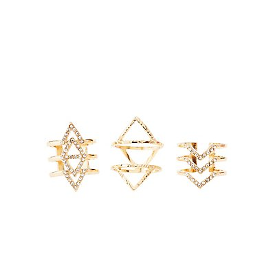 Chevron & Triangle Rings - 3 Pack