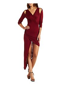 Asymmetrical Surplice Neck Bodycon Dress