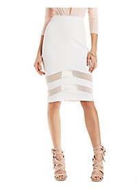 Mesh-Trim Pencil Skirt
