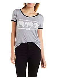 Sparkle Elephant Graphic Ringer Tee