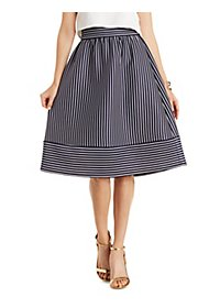 Striped Scuba Midi Skirt
