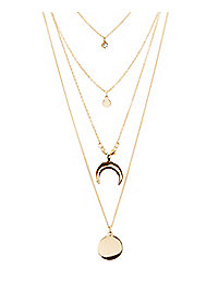 Circle & Moon Layered Necklace