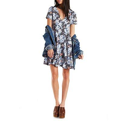 Floral Surplice Skater Dress