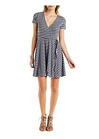 Striped Surplice Skater Dress