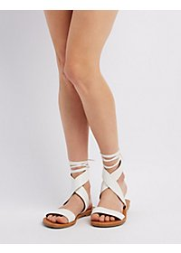 Wide Strap Lace-Up Sandals