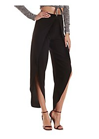 High-Waisted Tulip Wrap Trousers