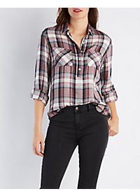 Plaid Flannel Pullover Shirt