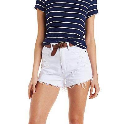 Machine Jeans Distressed Denim Shorts