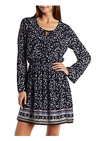Gauzy Border Print Dress