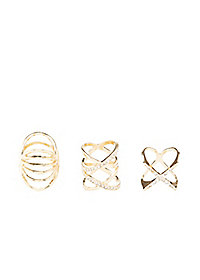 Rhinestone Crisscross Rings - 3 Pack