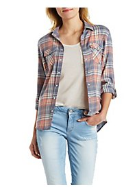Plaid Snap Button Shirt