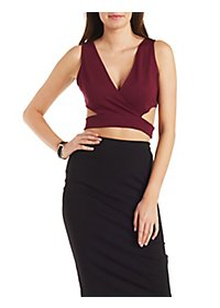 Cut-Out Surplice Crop Top