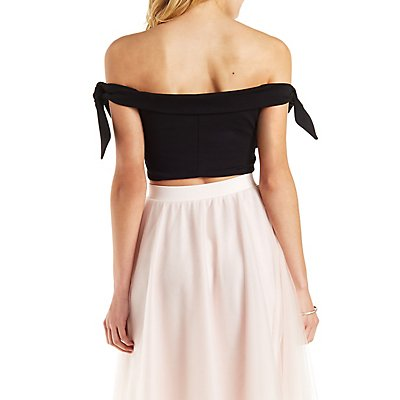Knotted Off-the-Shoulder Crop Top
