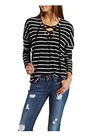 Lace-Up Striped & Ribbed Top