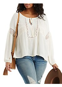 Plus Size Crochet-Trim Peasant Blouse
