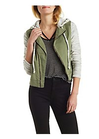 Knit Sleeve Moto Jacket