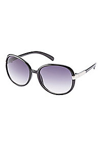 Metal Trim Round Sunglasses