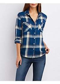 Plaid Flyaway Button-Up Shirt