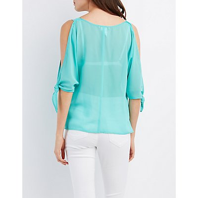 Tie-Sleeve Cold Shoulder Top