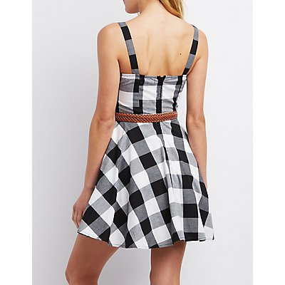 Belted Check Skater Dress