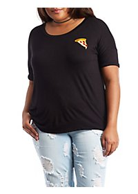 Plus Size Embroidered Pizza Tee
