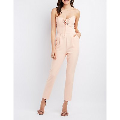 Re:Named Lace-Up Strapless Jumpsuit