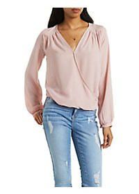 Draped V-Neck Chiffon Top