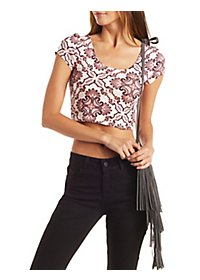 Printed Lattice-Back Crop Top